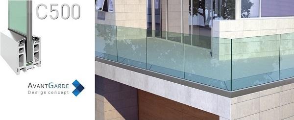 Garde-corps tout verre profil alu pose extérieur sur terrasse